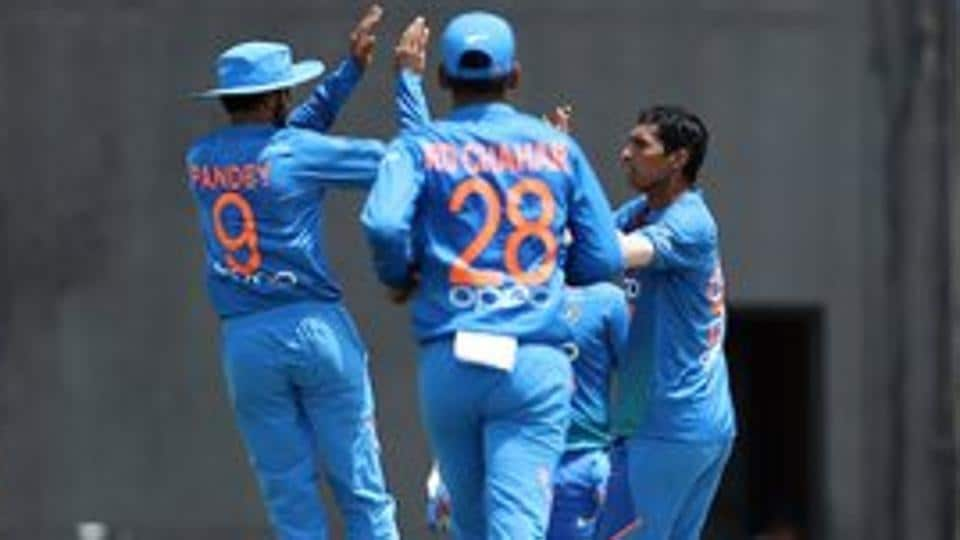 Navdeep Saini celebrates after taking a wicket during the match between West Indies and India. (Twitter)