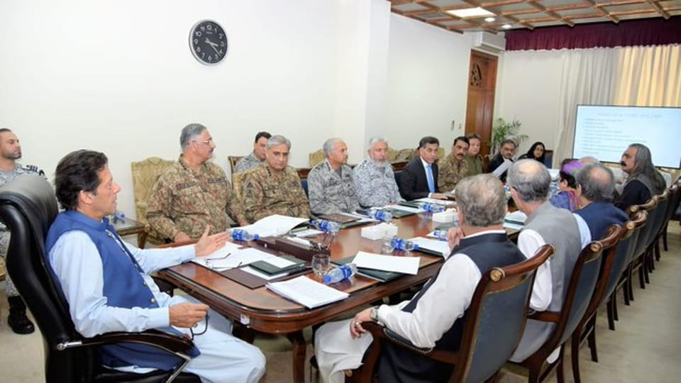 Pakistan PM Imran Khan chairing a meeting of NSC on Aug 7, 2019. (Photo@pid_gov)