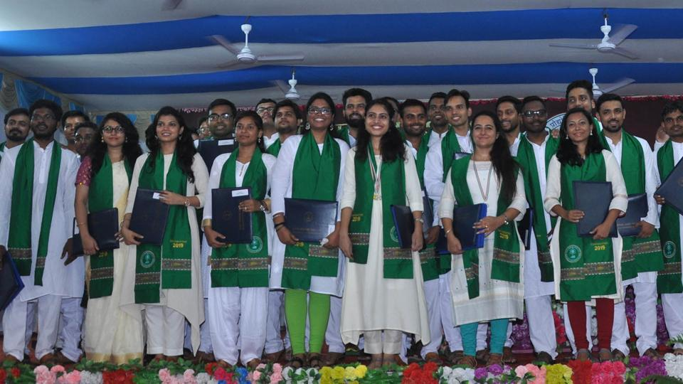 Students celebrate after receiving degree and medals during 7th Convocation ceremony organized at IIT bihita in Patna