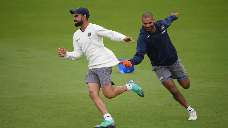 File photo of Virat Kohli and Shikhar Dhawan during team practice.