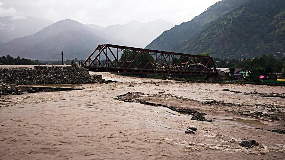A view of Kullu district after a flash flood in Gorcha Nalla in Kullu on Wednesday.