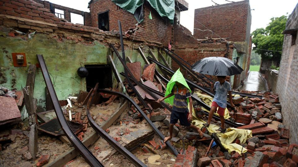 A view of a house that collapsed in Dubli Village in Rabupura, Greater Noida, on Tuesday, August 6, 2019.