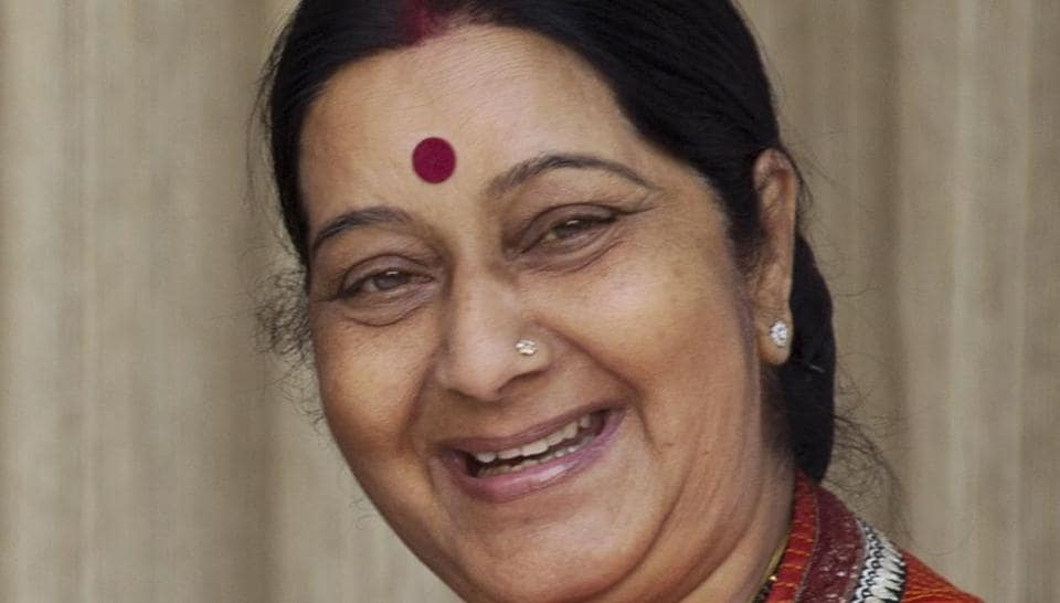 (FILE) Politician and former foreign minister Sushma Swaraj died on Tuesday.