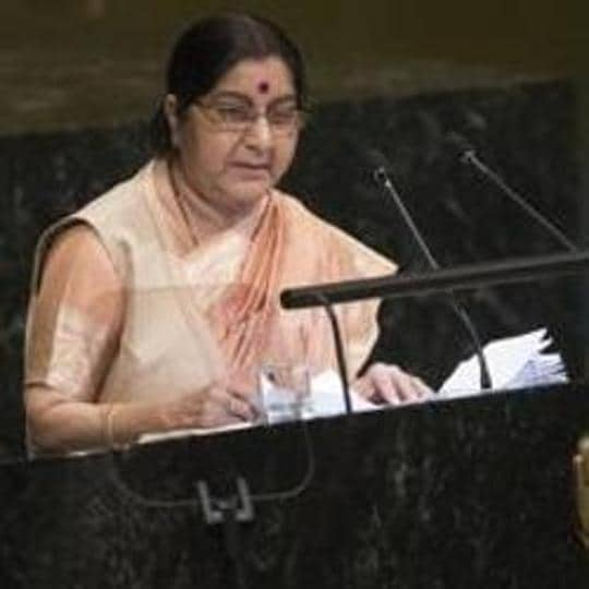 Former Foreign Minister Sushma Swaraj at  the 73rd session of the United Nations General Assembly, at U.N. headquarters.