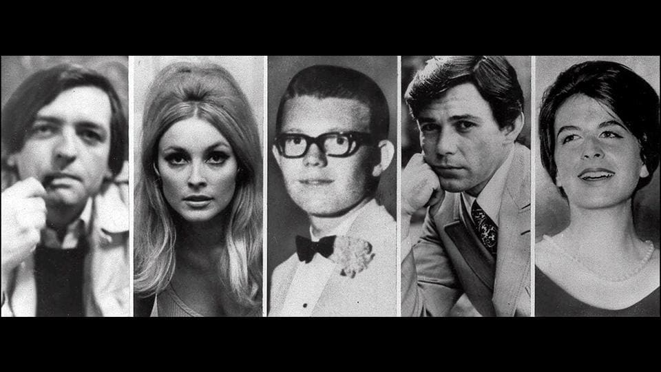 "A combination of images of the five victims slayed on the night of August 9, 1969 at Cielo Drive. (L-R) Wojciech Frykowski, Sharon Tate, Stephen Parent, Jay Sebring, and Abigail Folger. Charles Manson allegedly did not kill anyone in the Cielo Drive murder spree, but he reportedly believed that The Beatles' song ""Helter Skelter"" alluded to a race war, and that's why he ordered those Family members to go to Cielo Drive.  (AP File)"