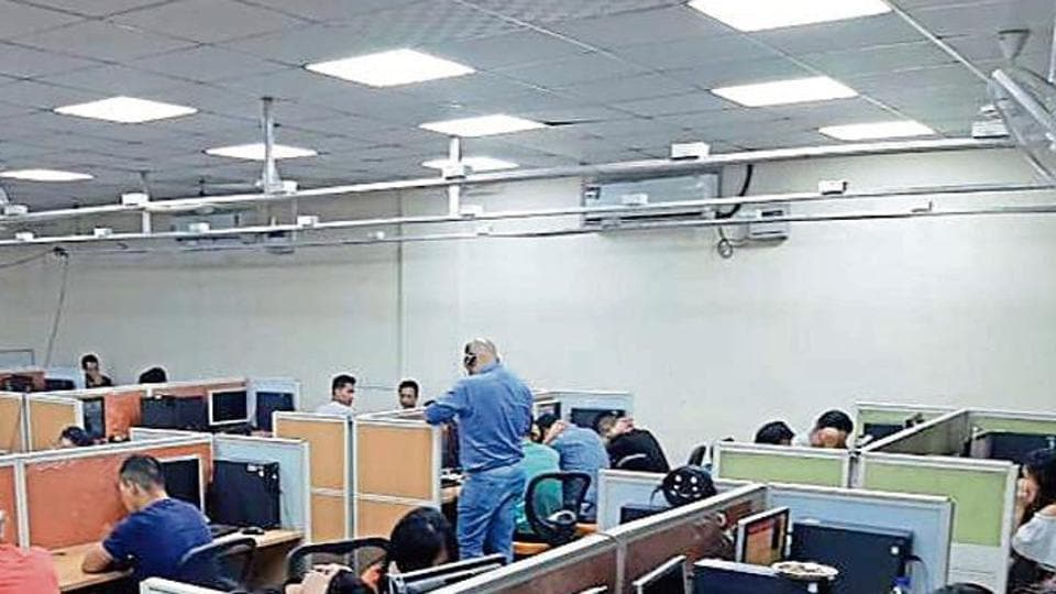 The police on Tuesday night busted a fake call centre that had been operating out of an office in Sector 37.