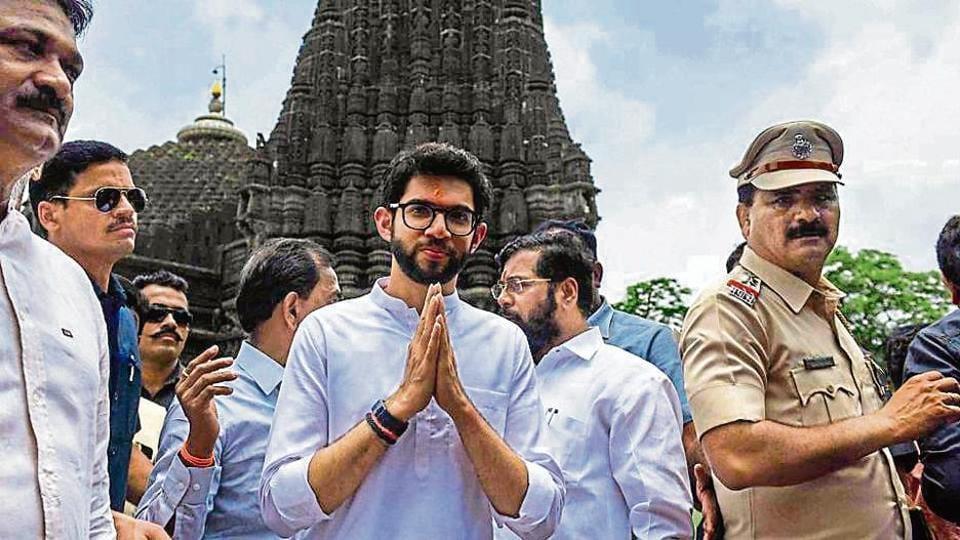 Sena leader Aaditya Thackeray at the Trimbakeshwar Temple in Nashik onSaturday.