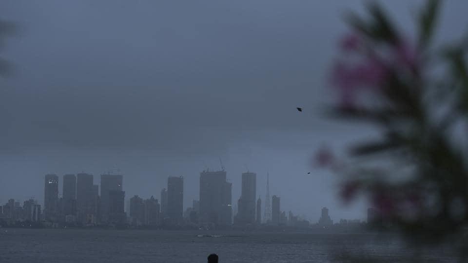 Mumbai, India - 7 Aug. 2019: City skyline covered with dark monsoon rain clouds at Bandra Reclaimation in Mumbai, India, on Wednesday, August 7, 2019. (Photo by Pramod Thakur/ Hindustan Times)