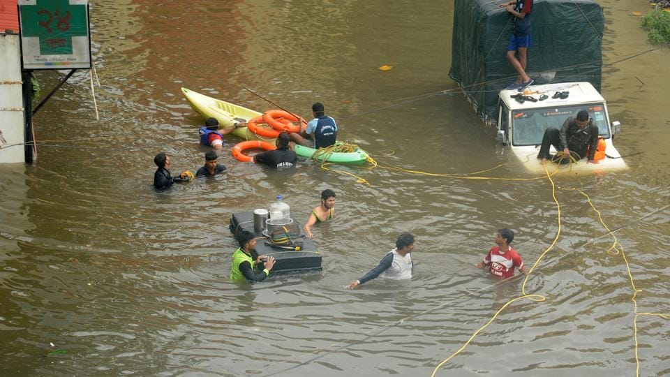 A view of the flood situation in Kolhapur, Maharashtra, India, on Wednesday, August 7, 2019. (Photo by