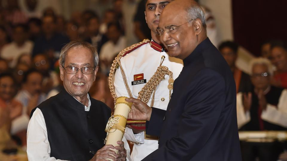 President Ram Nath Kovind confers Bharat Ratna upon former president Pranab Mukherjee during a ceremony at Rashtrapati Bhavan, in New Delhi, Thursday, Aug 8, 2019.