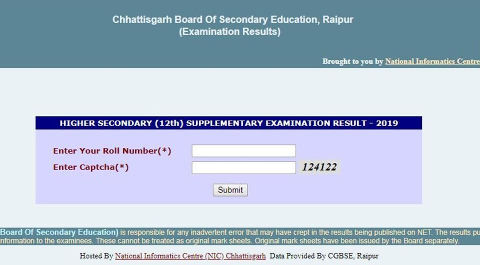 CGBSE12th supplementary result 2019 : The Chhattisgarh Board of Secondary Education (CGBSE) has declared the Class 12 supplementary examination results.