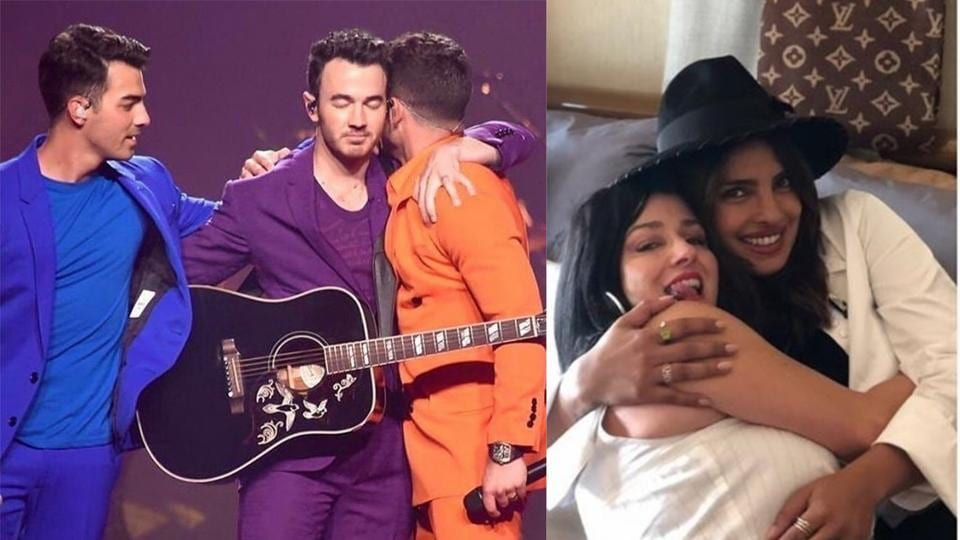 Nick Jonas hugs brother Kevin Jonas (left) and Priyanka Chopra bonds with mother-in-law Denise Jonas during Happiness Begins Tour.