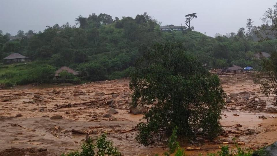 Landslide site in Wayanad's Puthumala .