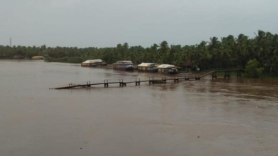 A bridge was swept away in gushing waters in north Kerala's Kasargode.