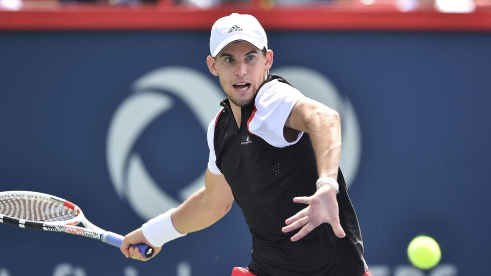 Dominic Thiem against Marin Cilic of Croatia at the Rogers Cup in Montreal, Quebec, Canada.