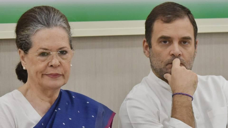 UPA chairperson Sonia Gandhi and Congress leader Rahul Gandhi at CWC meet on Saturday.