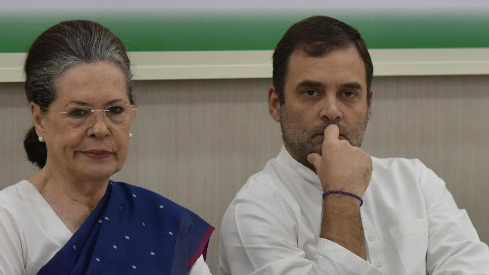 Senior Congress leaders Sonia Gandhi and Rahul Gandhi during Congress Working Committee (CWC) meeting, at AICC headquarter, in New Delhi, India, on Saturday, August 10, 2019.