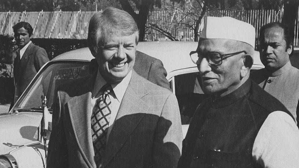 02 January 1978 - US president Jimmy Carter greets Prime Minister Morarji Desai At Roosevelt House in American Embassy the prime Minister attended a Private working lunch which was a continuation of the discussions began earlier in the day.