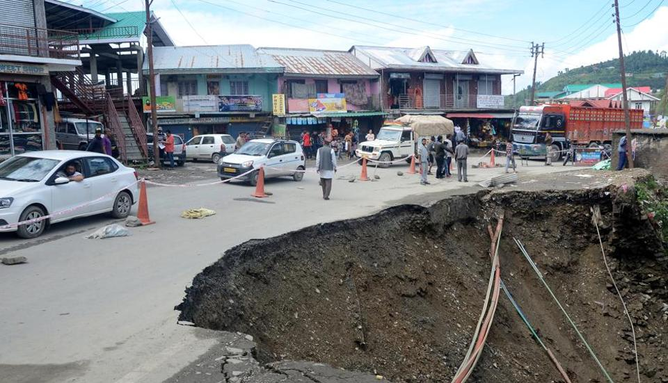 The caved-in portion of National Highway-5 at Rai Ghat near Theog, 30km from Shimla, on Saturday.