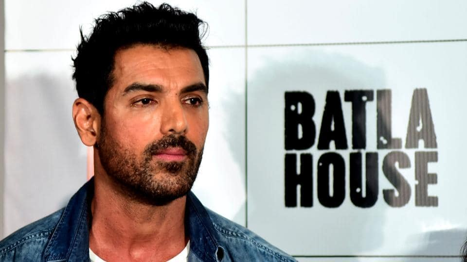 Indian Bollywood actor John Abraham looks on as he attends the trailer launch of the upcoming action thriller Hindi film Batla House.