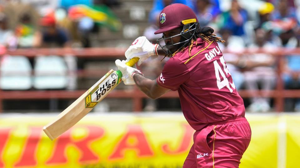 Chris Gayle of West Indies gets off the mark during the 1st ODI.