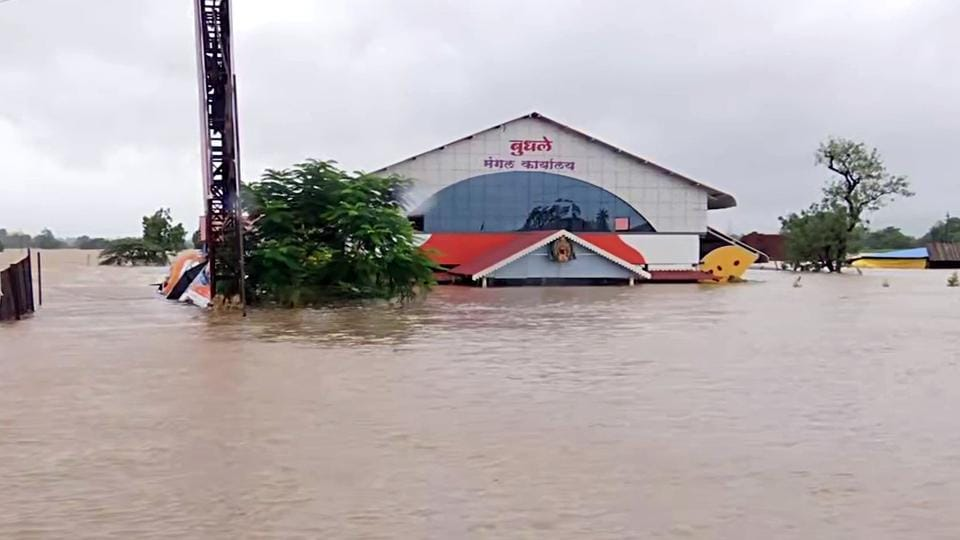 Office submerged in water following incessant rain at Kolhapur on Friday.(ANI Photo)