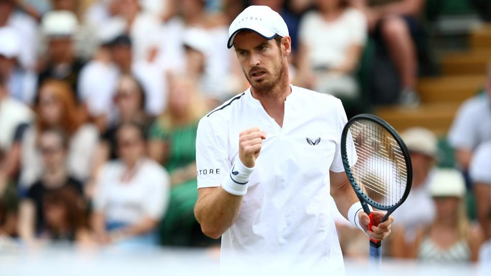 Andy Murray during his third round doubles match.