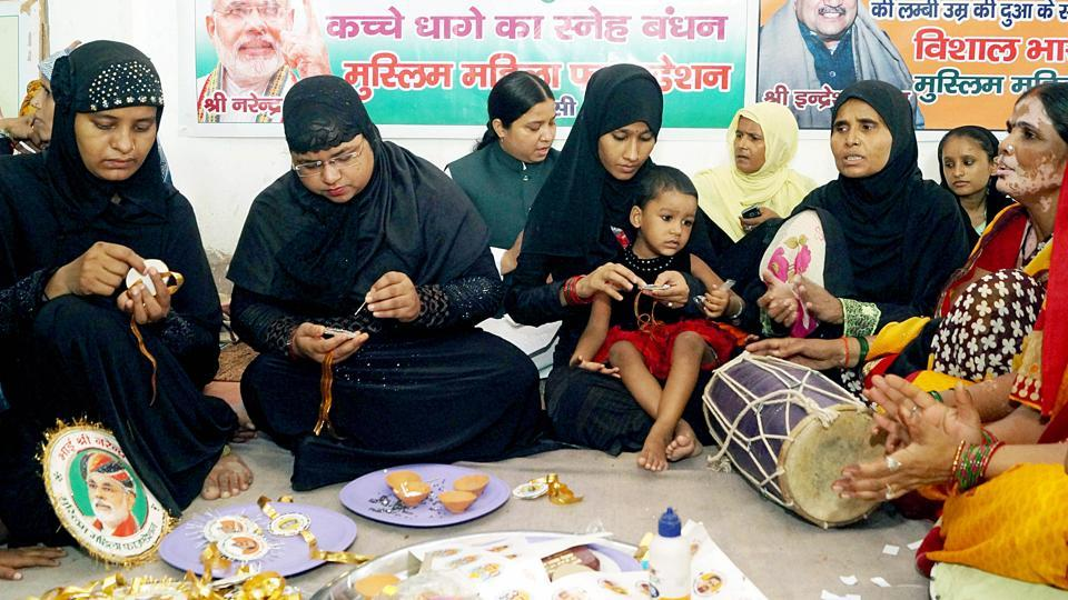 Muslim Mahila Foundation activists making Rakhis for Prime Minister Narendra Modi after passing Triple Talaq Bill and Scrapping of Article 370, in Varanasi on Saturday.