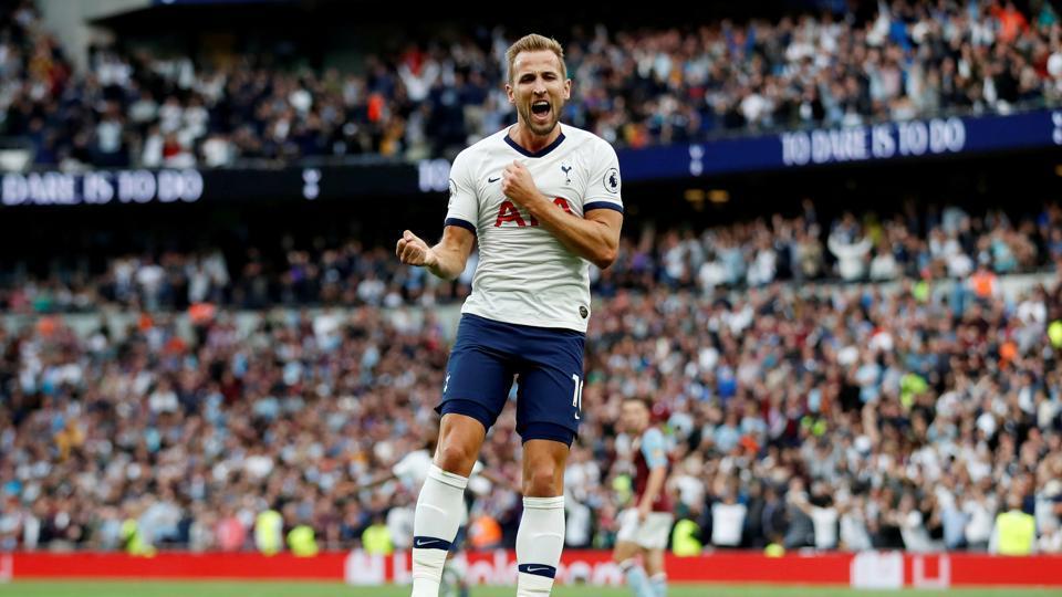 Tottenham's Harry Kane celebrates scoring their third goal