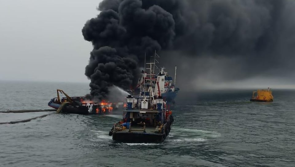 Offshore support vessel Coastal Jaguar caught fire off Visakhapatnam coast in Andhra Pradesh on Monday.