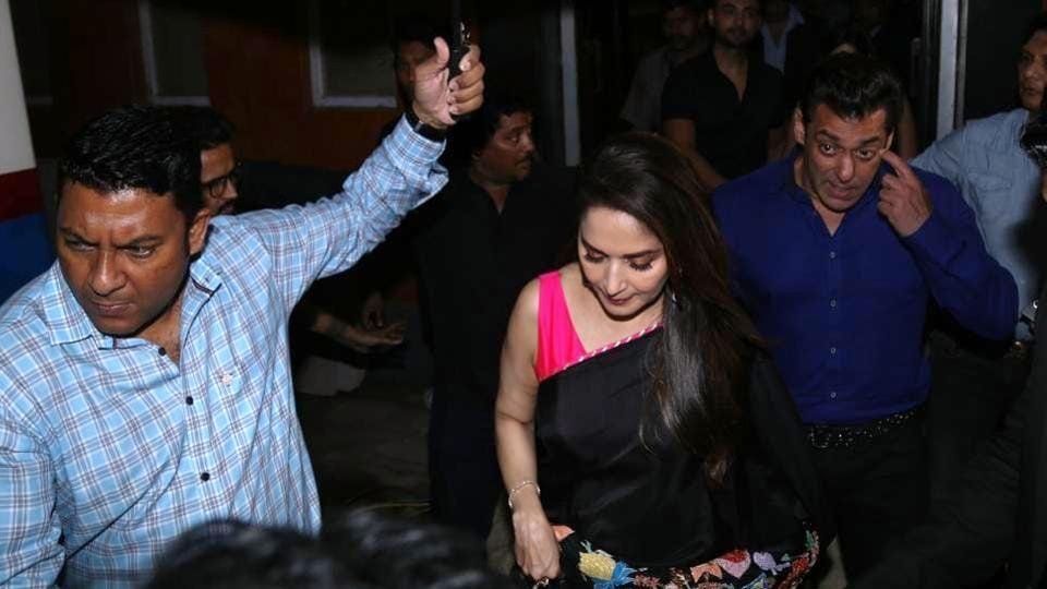 Madhuri Dixit and Salman Khan during a special event organised to celebrate 25 years of the film Hum Aapke Hain Koun, in Mumbai on Aug 9, 2019.