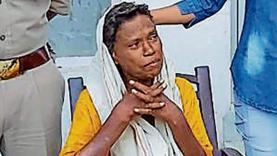 Shanta Devi at Shamshabad police station in Agra.