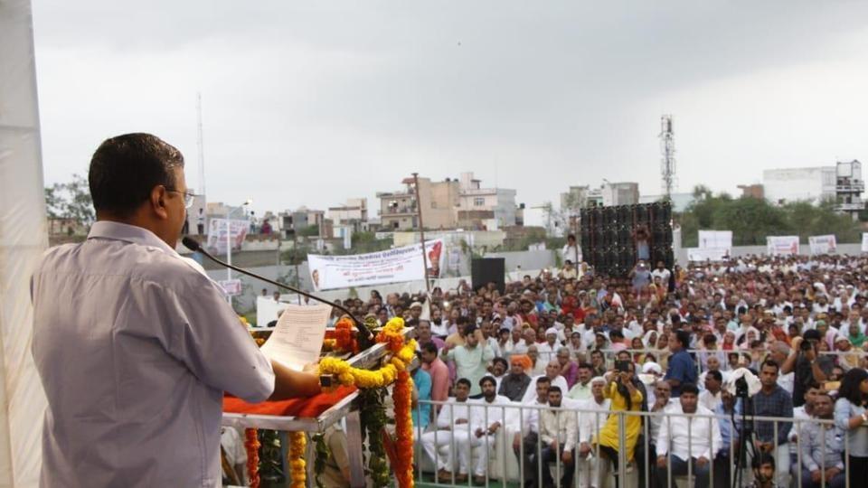 Delhi CM ArvindKejriwal speaks to the public in Mundka.