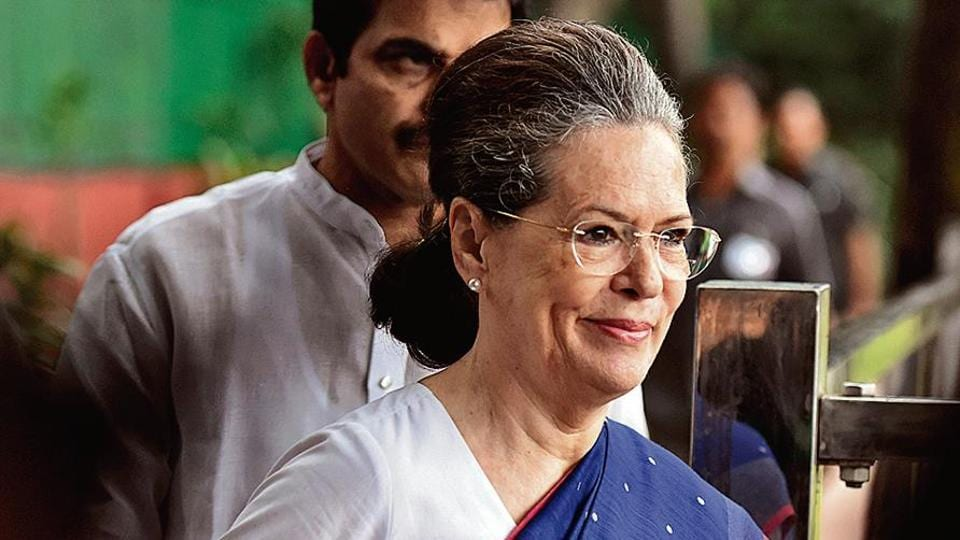 Senior Congress leader Sonia Gandhi arrives to attend Congress Working Committee (CWC) meeting, at AICC headquarter, in New Delhi, on Saturday, August 10, 2019.