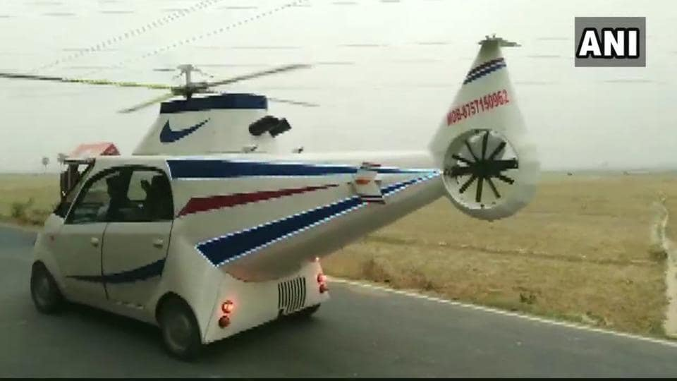 The helicopter look-a-like car is now becoming a centre of attraction in Chhapra.