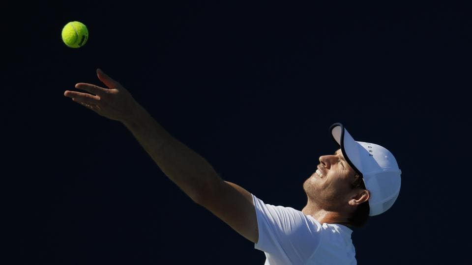 Andy Murray, of Britain, practices at the Western & Southern Open tennis tournament.
