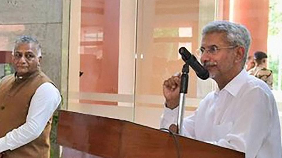 Minister of External Affairs S Jaishankar addresses a condolence meeting in the memory of former external affairs minister Sushma Swaraj, in New Delhi, Thursday, Aug 8, 2019. He is currently on a 3-day China visit.