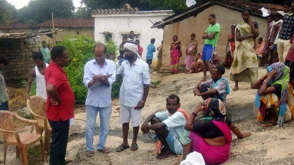 Villagers gathered before the house where wild elephants trampled to death a girl at at Majhkera Pahantoli under Basia police station in Gumla .