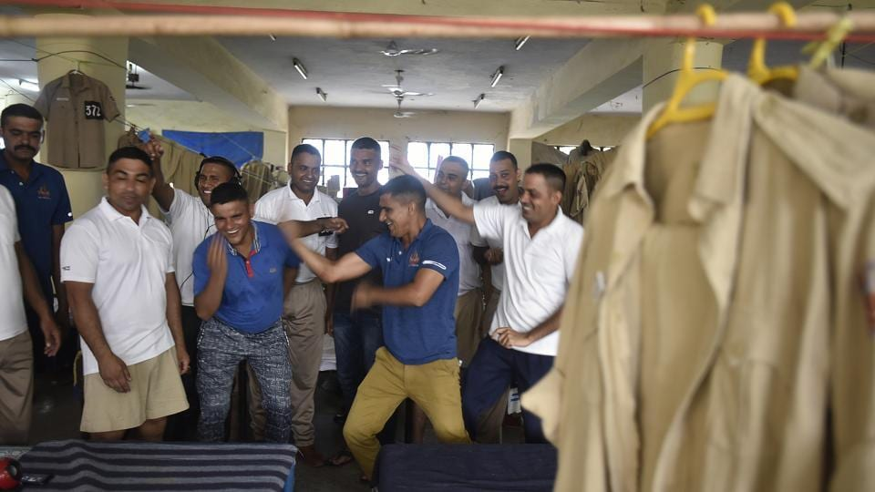 After completing their hours of training, cadets dance during their leisure time. (Raj K Raj / HT Photo)