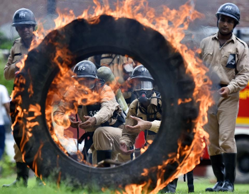 Cadets are familiarised with different emergency and disaster situations at the Delhi Fire Service (DFS) campus in Mandawli, New Delhi. Delhi reports more than 80 incidents of fire every day. The DFS has 2,200 firemen at its disposal, and a total of 240 fire tenders. To ably fight them, the DFS plans to add 500 more firemen — who are currently readying for the challenging task in training centres at Rohini and Mandawli. (Raj K Raj / HT Photo)