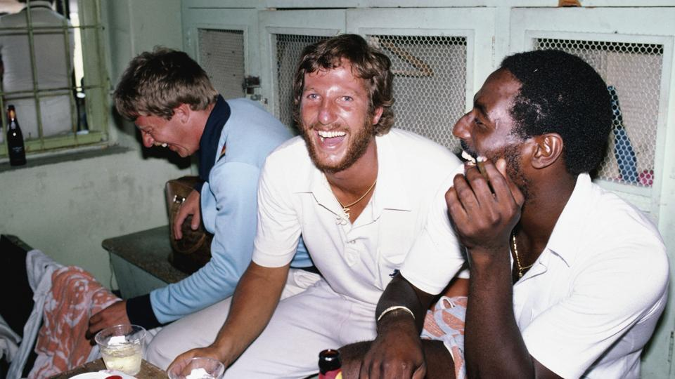 Former England captain Ian Botham (middle) and West Indies legend Viv Richards (right) have been named by Dean Jones in his all-time T20 XI.