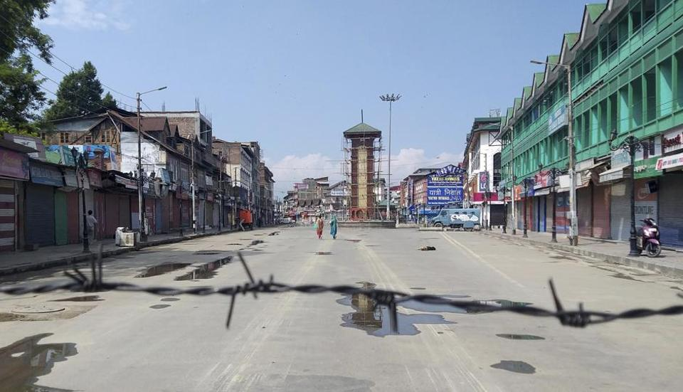 A deserted Lal Chowk  in Jammu and Kashmir's Srinagar.
