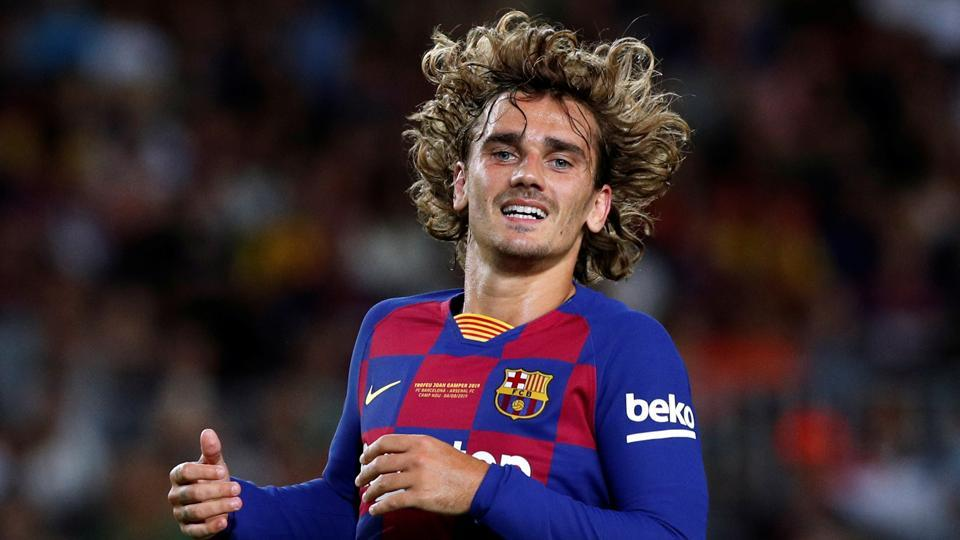 Barcelona's Antoine Griezmann in action during the match.