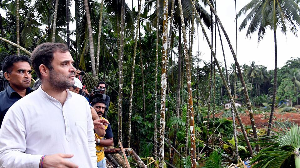 Congress leader Rahul Gandhi visits Kavalappara, the landslide site, Bhoothanam where many people are still trapped as rescue operations are still going on Sunday.