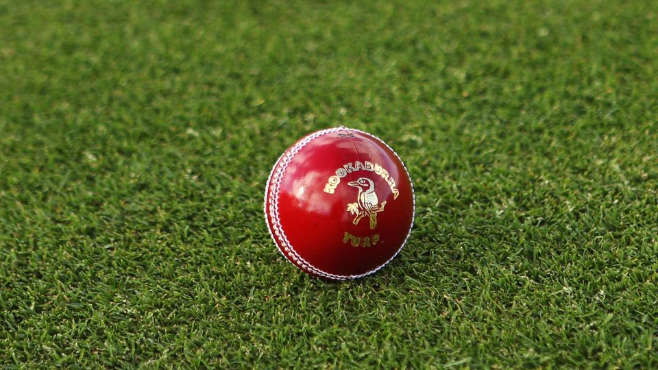 A general view of a Kookaburra turf four piece cricket ball.
