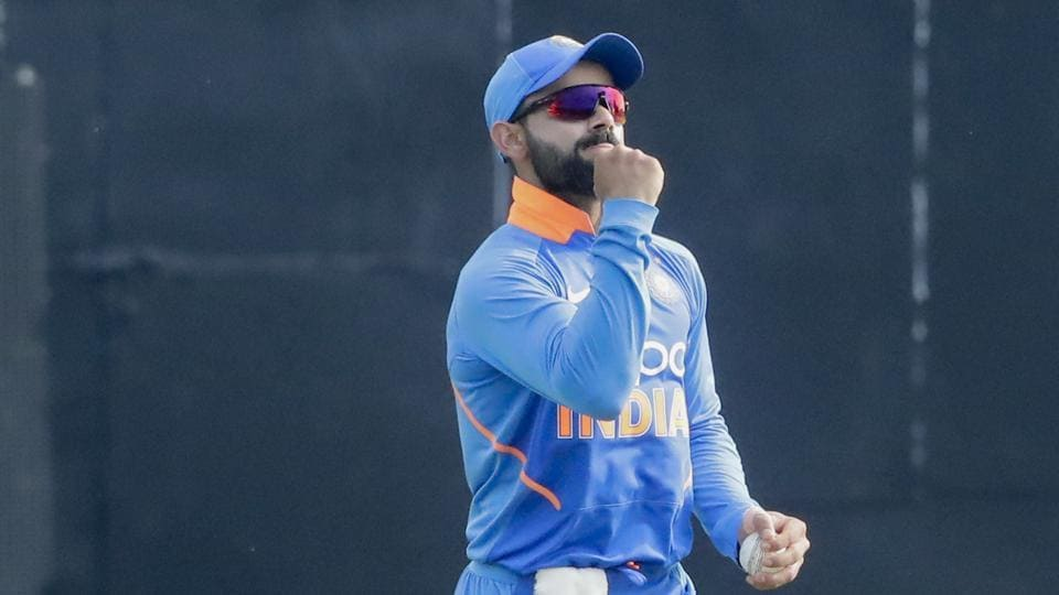 India captain Virat Kohli celebrates after a catch to dismiss West Indies Shimron Hetmyer