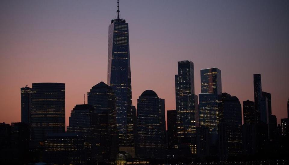 The lower Manhattan skyline is seen from Jersey City, New Jersey, U.S., on Monday, July 29, 2019.