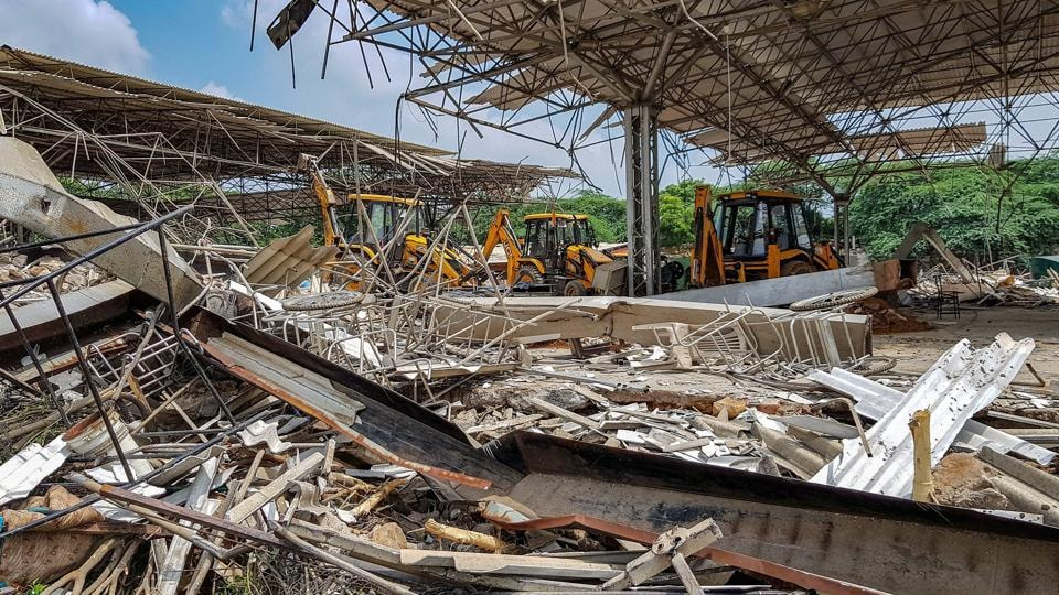 Revenue department officials said the demolition will continue for a few more days to recover remaining forest land which has been encroached upon by the villagers.