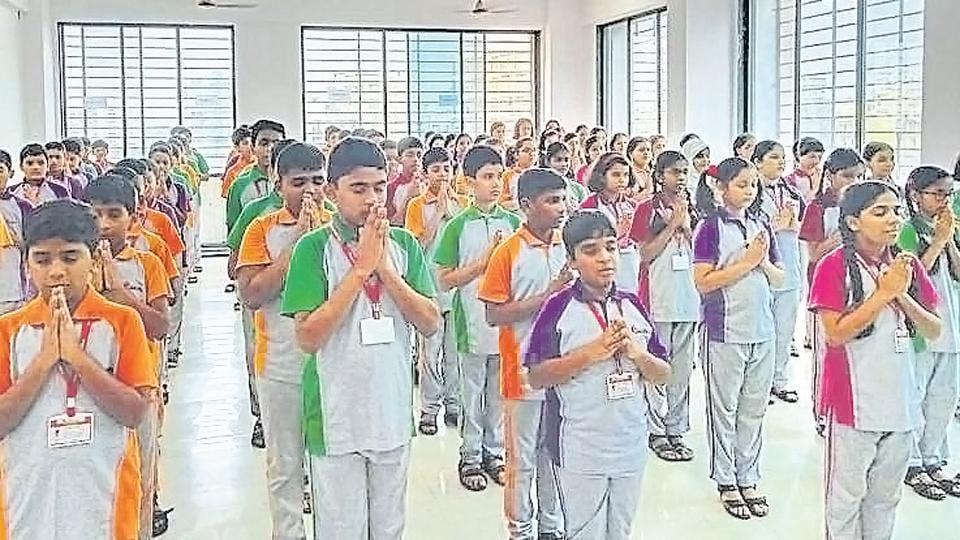 Students of Radcliffe School, Ulwe, during the special assembly meet.