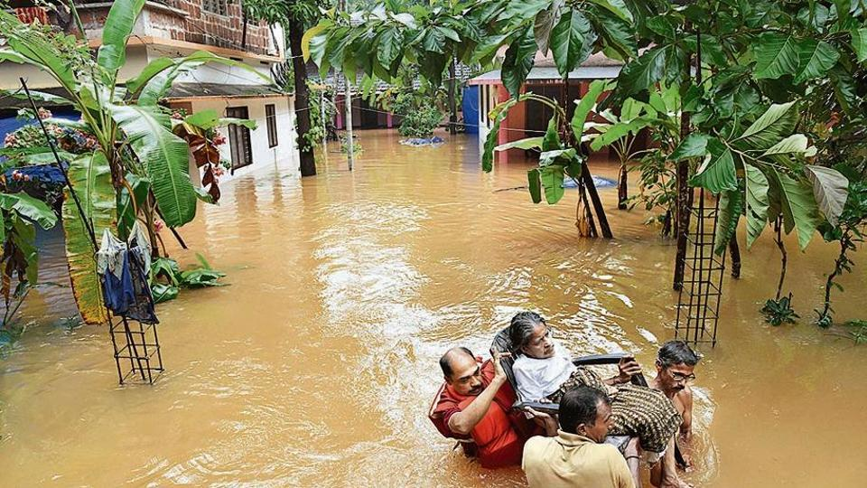 Though rain abated a bit in Kerala rescue operations are going n in full swing. Scenes from flood-hit Kannur.